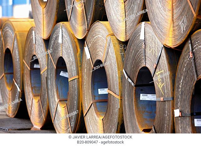 Rolls of sheet steel. Port of Bilbao, Biscay, Basque Country, Spain