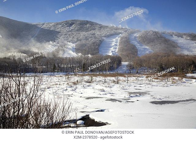 Franconia Notch State Park - Snow making at Cannon Mountains in the White Mountains, New Hampshire USA during the winter months