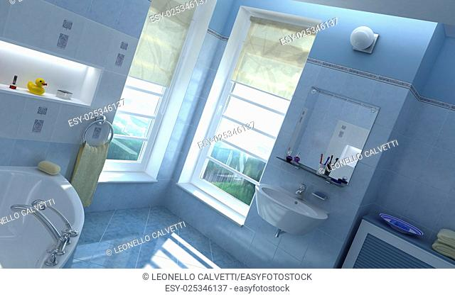 Contemporary bathroom. With windows and sun coming through