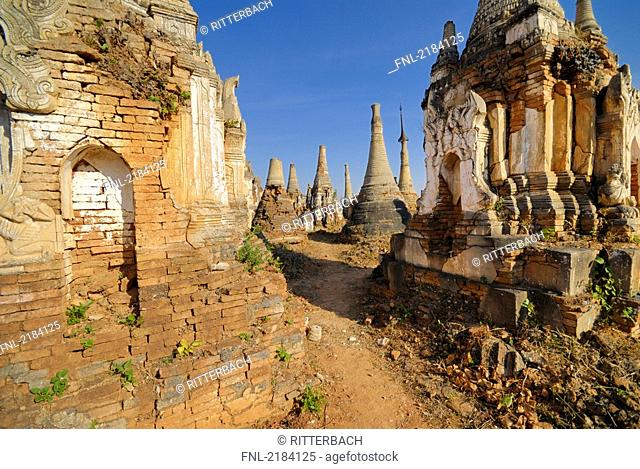 Old ruins of pagodas on landscape, Shwe Intaing Pagoda, Myanmar