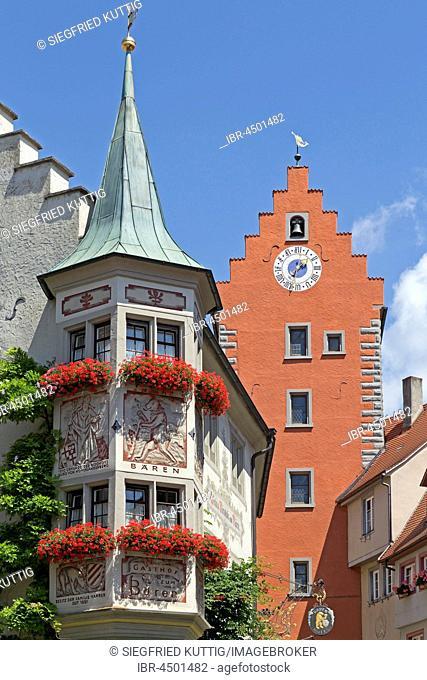 Marketplace with Obertor, Oberstadt, Meersburg, Lake Constance, Baden-Württemberg, Germany