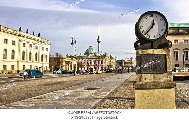 At left Humboldt University, on background Cathedral cupola and Television Tower, Mitte district, Unter den Linden boulevard, Berlin, Germany