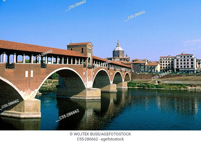 Covered bridge over Ticino River. Pavia. Lomardy, Italy