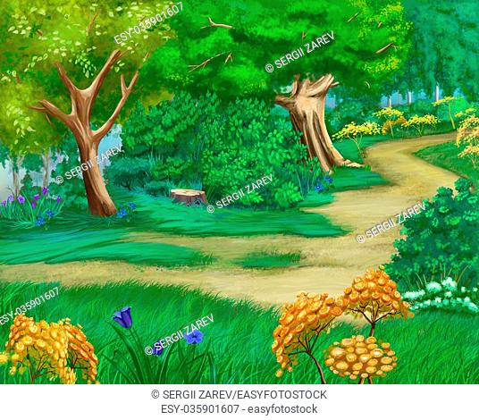 Digital Painting, Illustration of Rural landscape with bushes and grass around a path. Cartoon Style Artwork Scene, Story Background