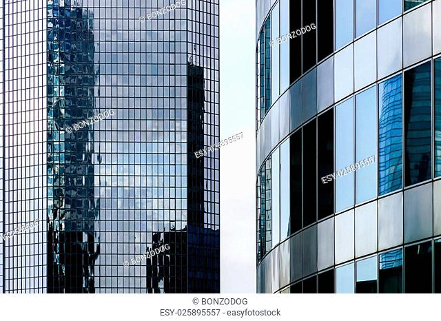 La Defense europe business center in Paris, France. Glass and steel skyscrappers view