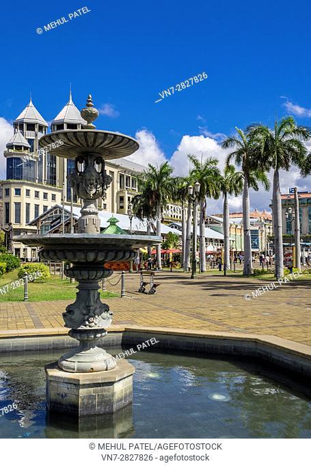 Water fountain, Caudan Waterfront, Port Luis, Mauritius, Africa