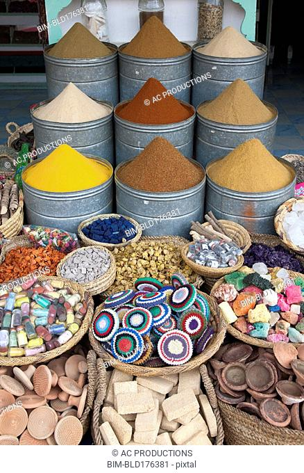 Spices and crafts for sale in market