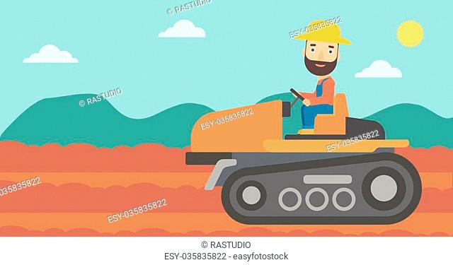 A hipster man with the beard driving a tractor on a background of plowed agricultural field vector flat design illustration. Horizontal layout