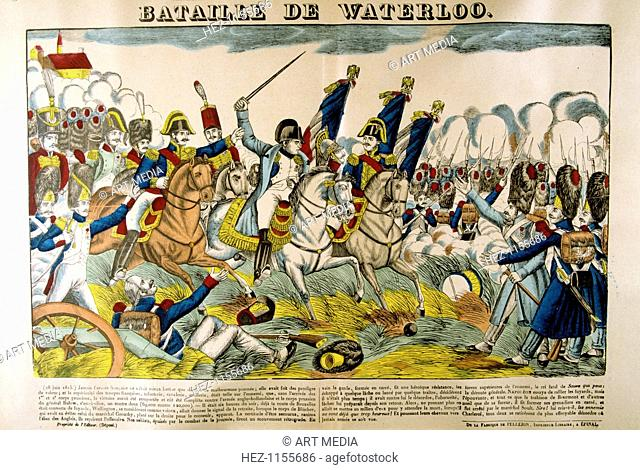 'Battle of Waterloo', 18 June 1815, (19th century). One of the most decisive battles of the Napoleonic Wars, Waterloo was fought in a small area (some 10km by...