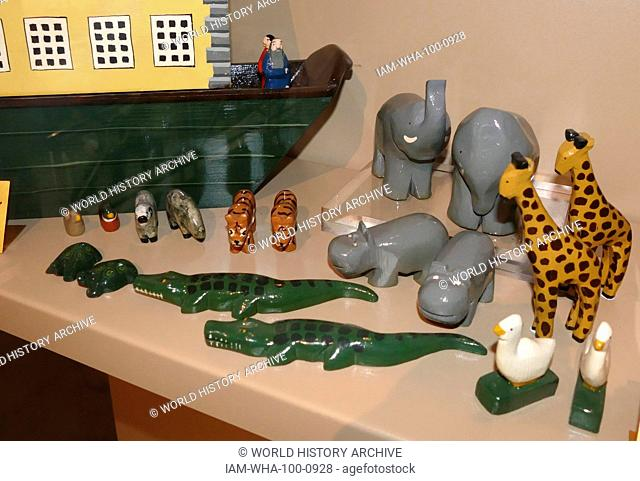 Noah's Ark wooden House boat with toy animals; by David Plagerson 1978