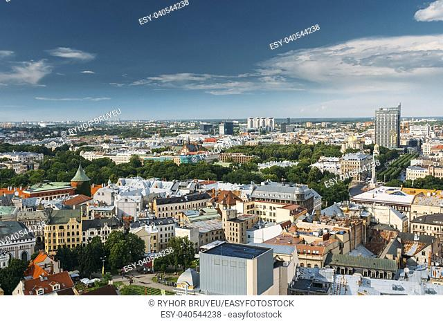 Riga, Latvia. Cityscape In Sunny Summer Day. Top View Of Famous Landmarks - Riga Nativity Of Christ Cathedral, Memorial Freedom Monument And Freedom Boulevard...