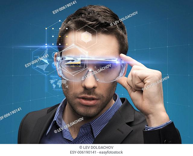 future, technology, business and people concept - handsome businessman in virtual glasses