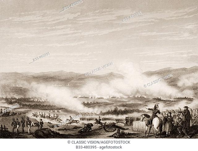 Battle of Vitoria, June 21, 1813. Engraved by D.J.Pound after G.W.Terry. From England's Battles by Sea and Land by Lieut Col Williams