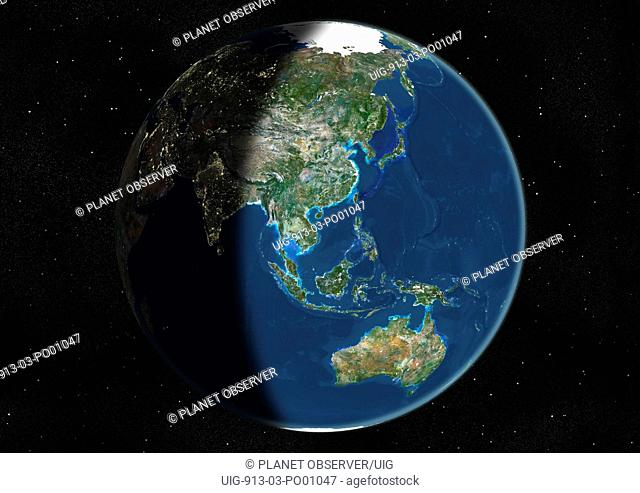 Globe Centred On Asia And Oceania, True Colour Satellite Image. True colour satellite image of the Earth centred on Asia and Oceania, at the equinox at 12 p