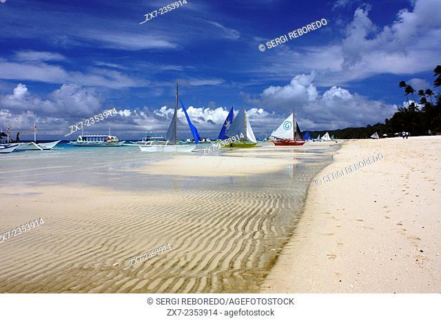 Philippines. Boracay Island Philippines. Sail boats on beach Boracay; The Visayas; Philippines. Bankas on white sand. White beach. Boracay