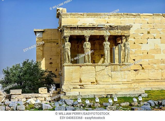 Porch Caryatids Ruins Temple of Erechtheion Acropolis Athens Greece. Greek maidens columns Temple of Erechtheion for a former Athenian king