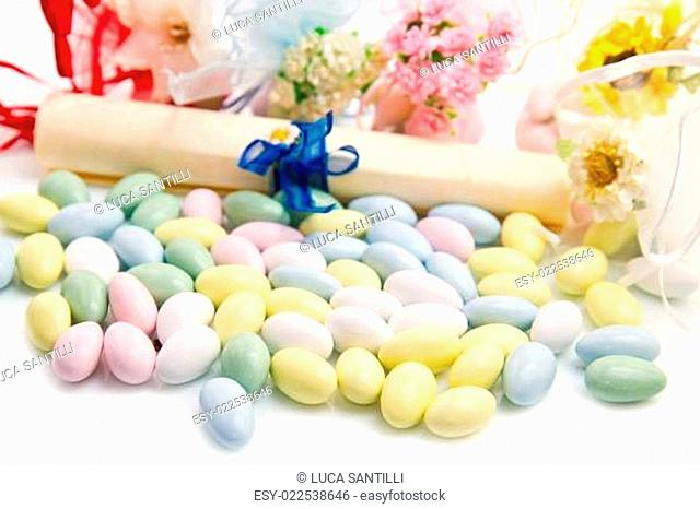 different colored candy favor