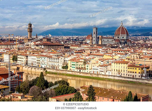 View above the historical center of Florence from the Dome till Signoria Square