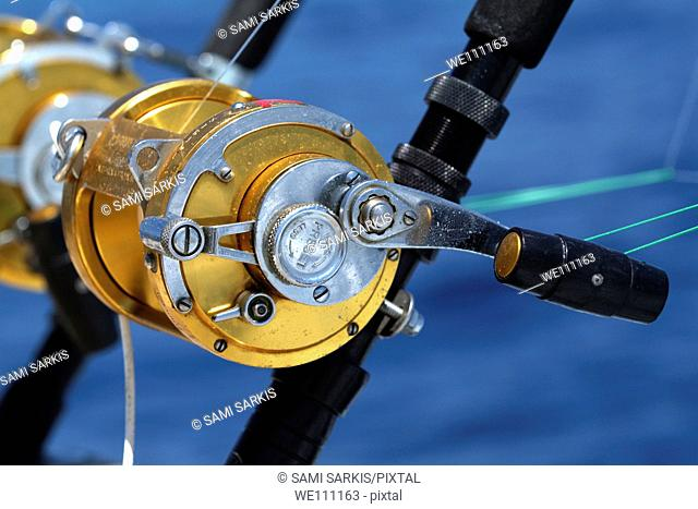 France mediterranean sea two rod and reel on board of a game fishing boat