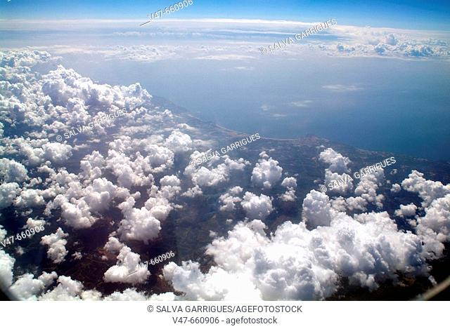 Seas, seas, ocenao, oceans, Iberian peninsula, flight flights, flying window
