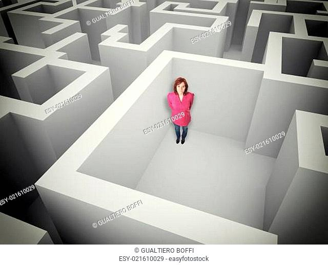 woman and maze