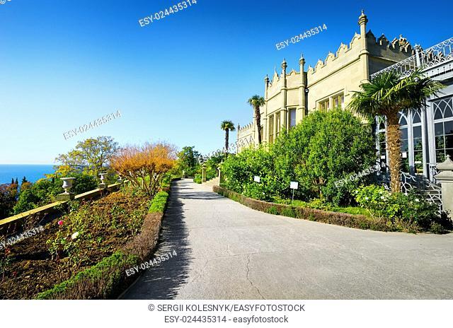 Wonderful park near ancient palace in autumn