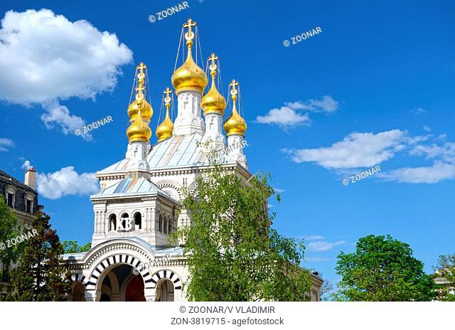 Dome of Russian orthodox church in Geneva. Switzerland