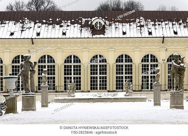Front facade of Stara Pomaranczarnia in winter, side facade of Old Orangery building, Lazienki Krolewskie, Lazienki Park, Royal Baths Park, Warsaw, Poland