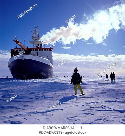 Icebreaker and research ship FS Polarstern in the ice of the Weddell Sea, Antarctica