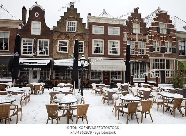 old dutch houses in dordrecht in winter, netherlands
