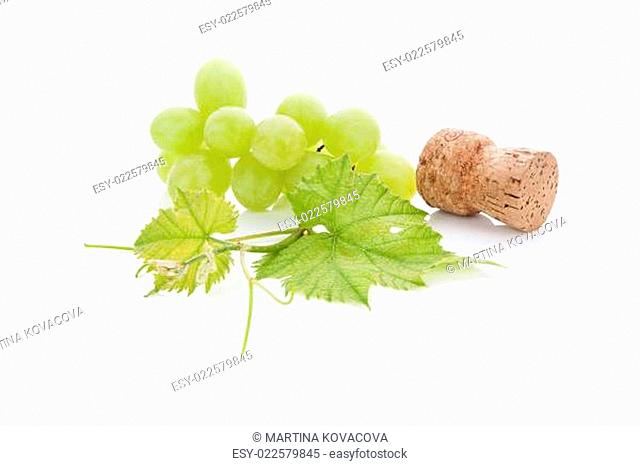 Wine cork and grapes