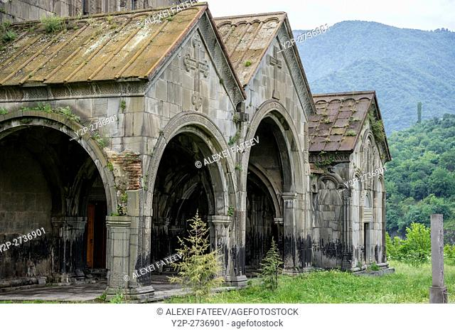 Western facade of Surp Astvatsatsin church at Akhtala monastery in Armenia