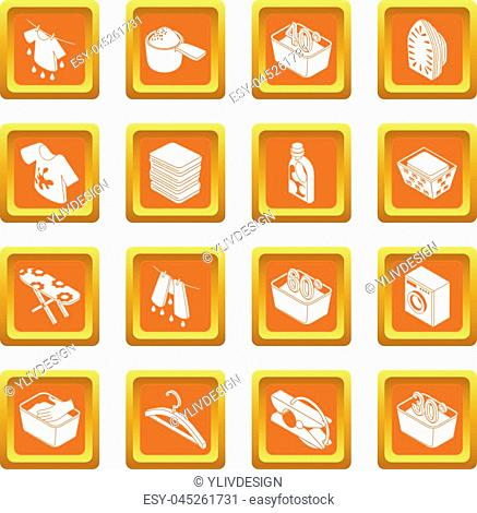 Laundry icons set vector orange square isolated on white background