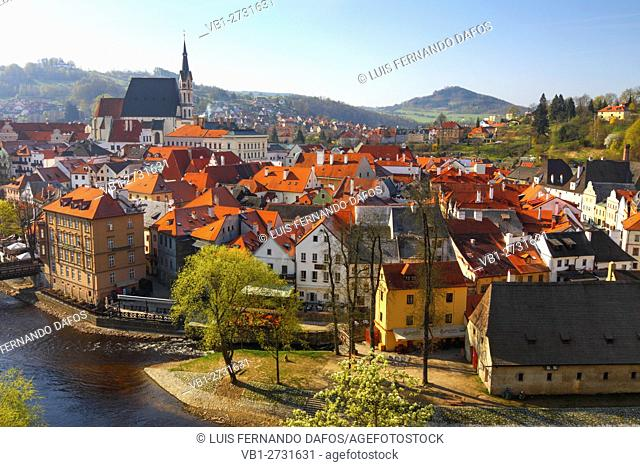 Overview of the Unesco listed town of Cesky Krumlov. Czech Republic