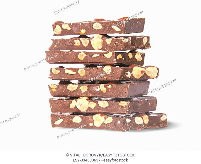 Stack of seven chocolate bars rotated isolated on white background