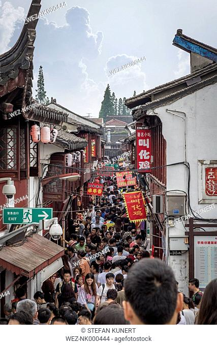 China, Shanghai, Main street of Qibao Ancient Town with countless tourists