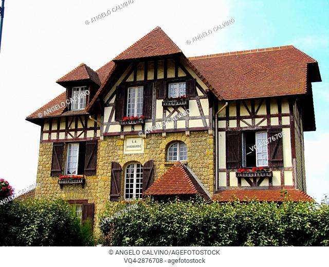 traditional seaside architecture in Cabourg, Deauville, Normandy, France.