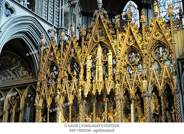 Ely Cathedral, Cambridgeshire, England. The ornate Choir screen seen from the west