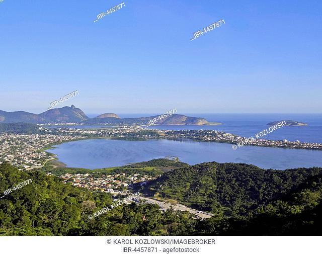 View from Parque da Cidade towards Lagoa de Piratininga and Itaipu, Niteroi, State of Rio de Janeiro, Brazil