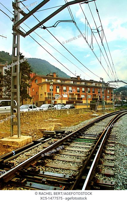 View of the railway, Ripoll, Barcelona, Catalonia, Spain