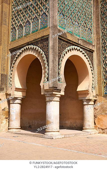 Bab Mansour gate, named after the architect, El-Mansour, completed in 1732. The design of the gate plays with Almohad patterns