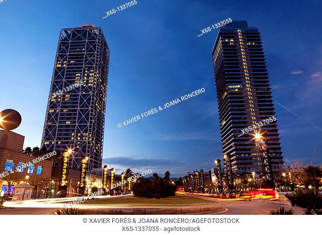 Arts Hotel and Mapfre Tower at nigth, Barcelona, Spain