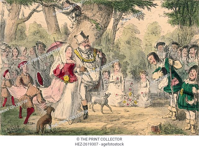 Henry the 8th and his Queen out a Maying, 1850. Artist: John Leech