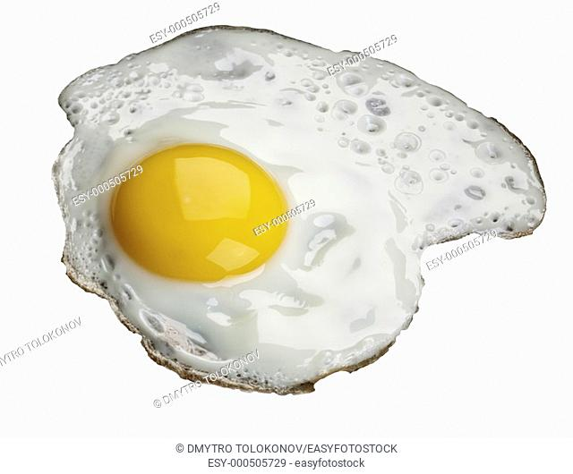 Fried egg, isolated over white background