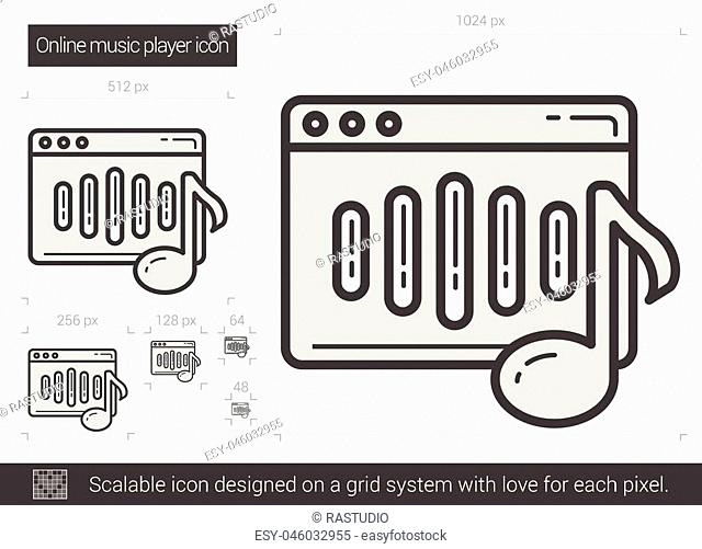 Online music player vector line icon isolated on white background. Online music player line icon for infographic, website or app