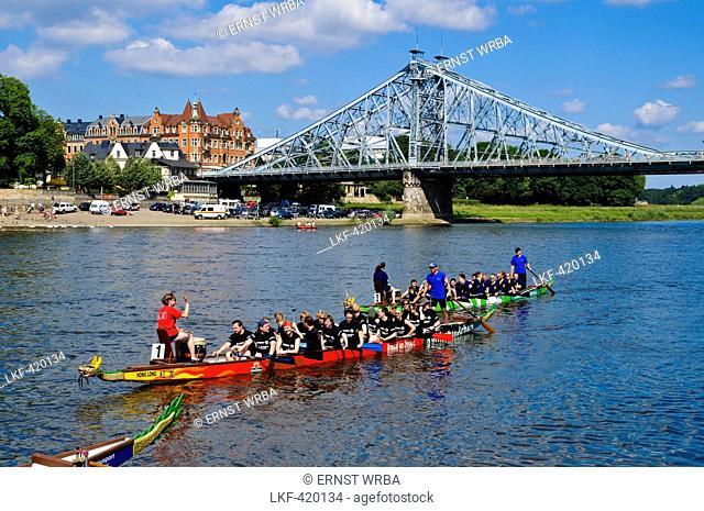 Dragon boats on Elbe river in front of bridge Blaues Wunder, Blasewitz, Loschwitz, Dresden, Saxony, Germany, Europe