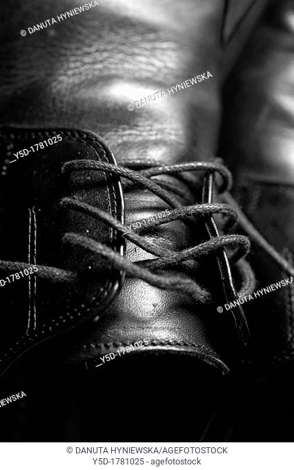 close-up of shoelaces in mens elegant shoes