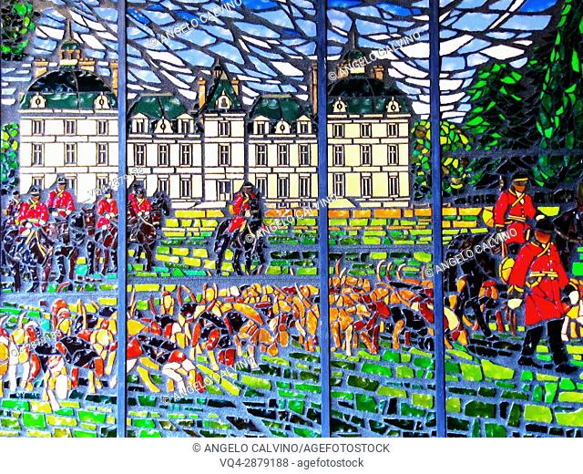 Europe, France, Loire Valley, Loire, Cheverny Castle, Chateau Cheverny, Castle, Castles, Stained Glass, Tableaux, Dog, Dogs, Interior, UNESCO.