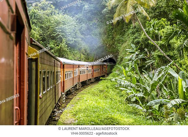 Railway Track and Train from Colombo to Kandy, Sri Lanka, Asia