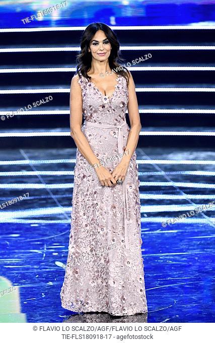 Italian actress Maria Grazia Cucinotta at the final of Miss Italia 2018, Milan, ITALY-17-09-2018